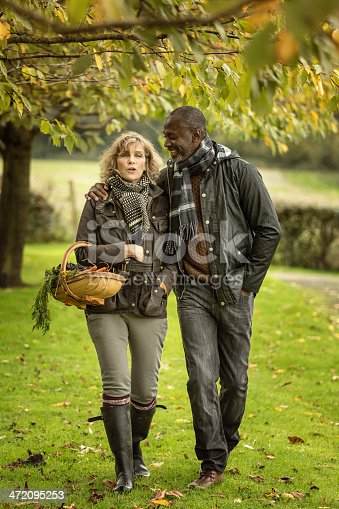 istock mixed race mature couple walking in the garden 472095253