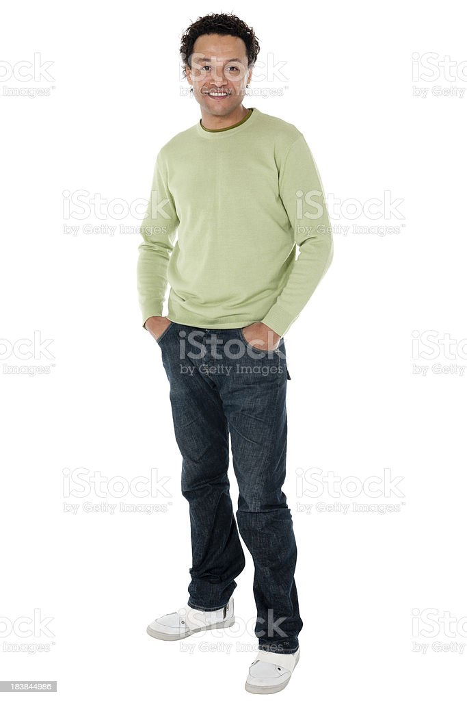 Mixed Race Mid Adult Man isolated on white royalty-free stock photo