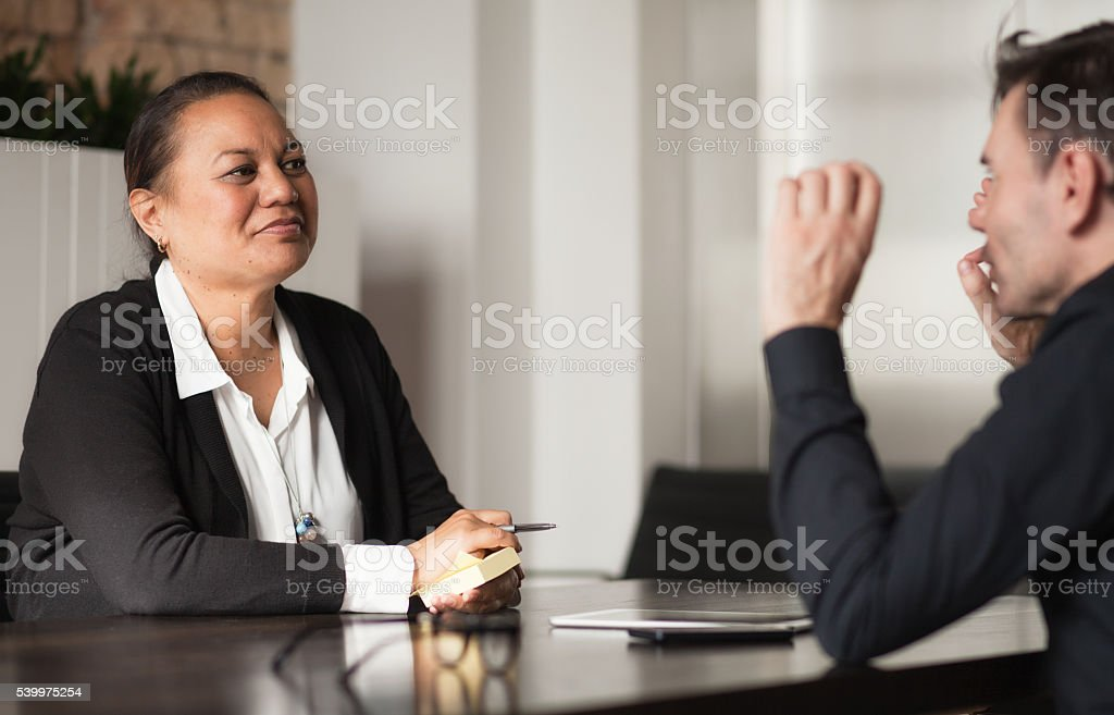 Mixed Race People in Meeting royalty-free stock photo