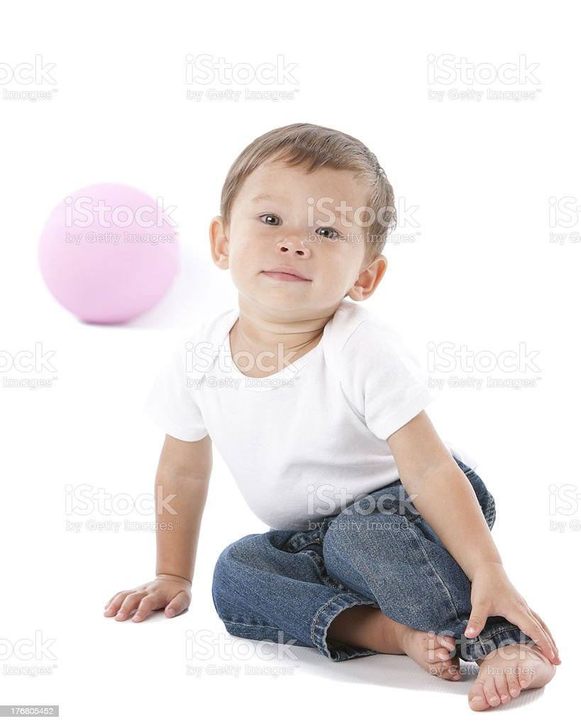 Mixed Race Toddler Boy with a Ball stock photo