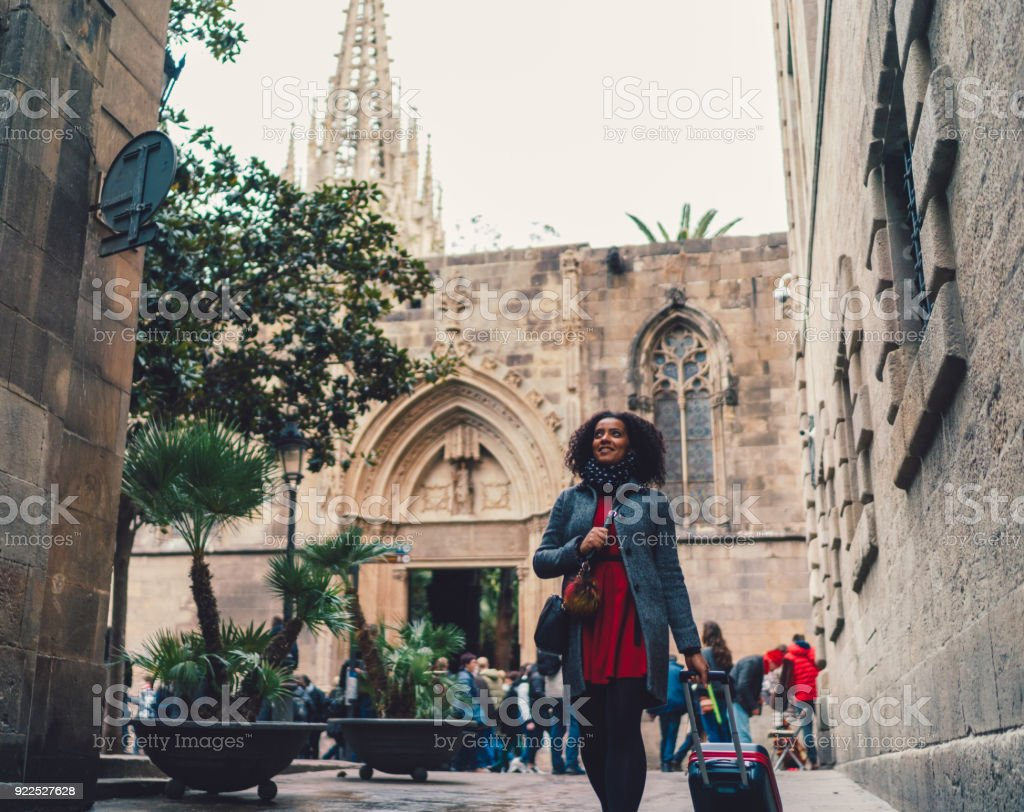 Mixed race woman have just arrived in Barcelona stock photo