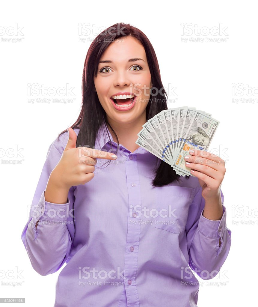 Mixed Race Woman Holding the New One Hundred Dollar Bills stock photo