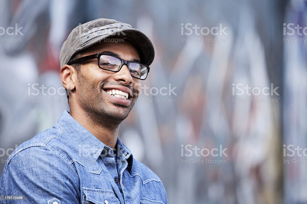 Mixed Race Young Urbanite stock photo