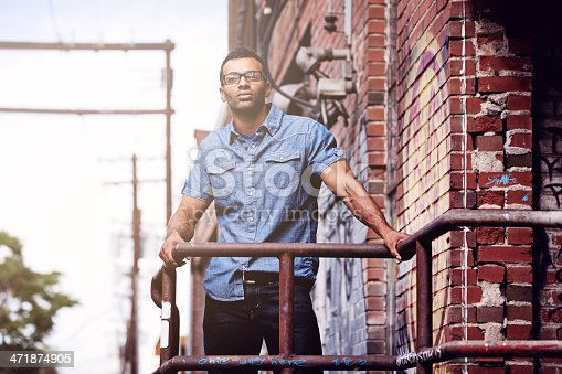 Young man of mixed race in an urban environment.