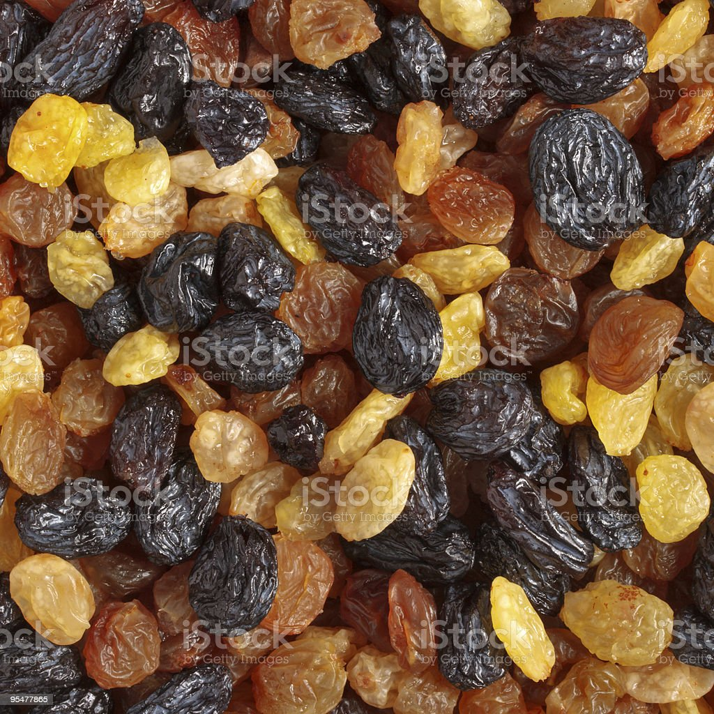 Mixed raisins close up stock photo