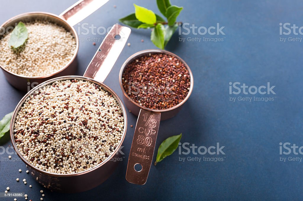 Mixed raw quinoa stock photo