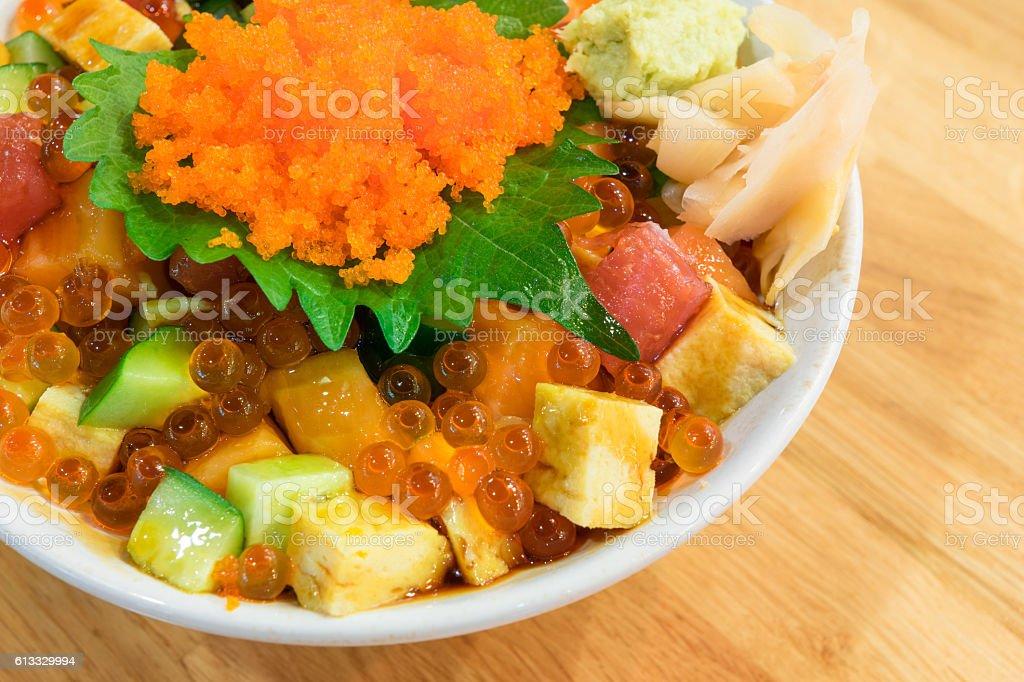 Mixed rice bowl with fresh salmon stock photo