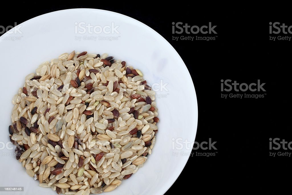 Mixed Rice in a China Bowl stock photo