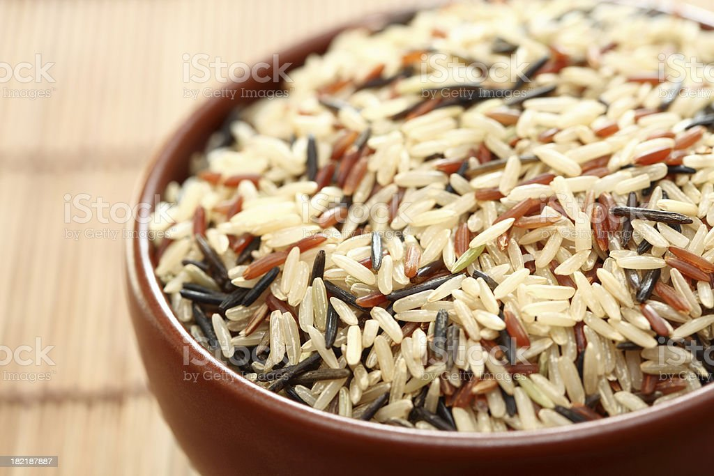 Mixed rice in bowl stock photo