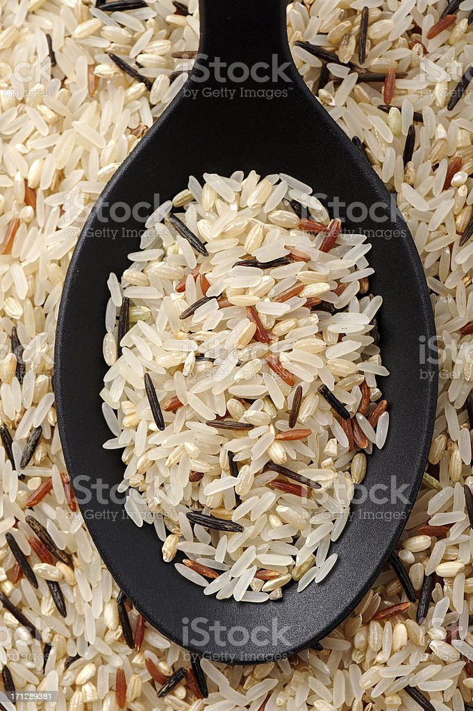Mixed rice (Parboiled, wild, brown and red rice) stock photo