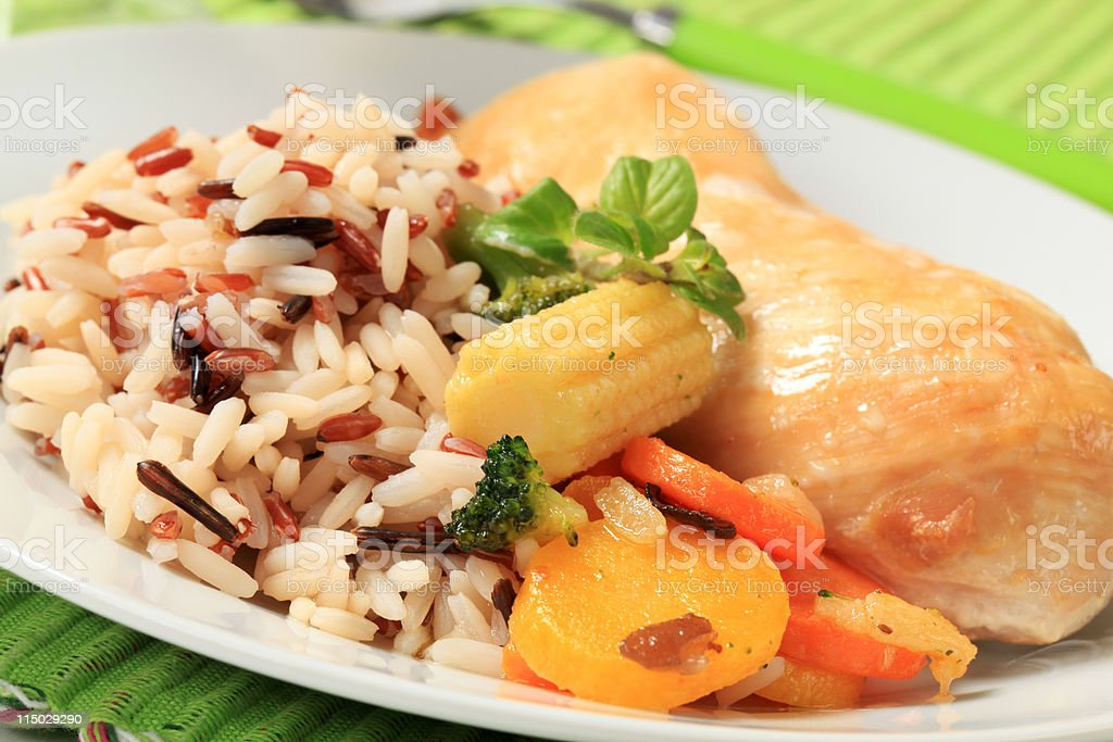 Mixed rice with chicken meat  and vegetables royalty-free stock photo