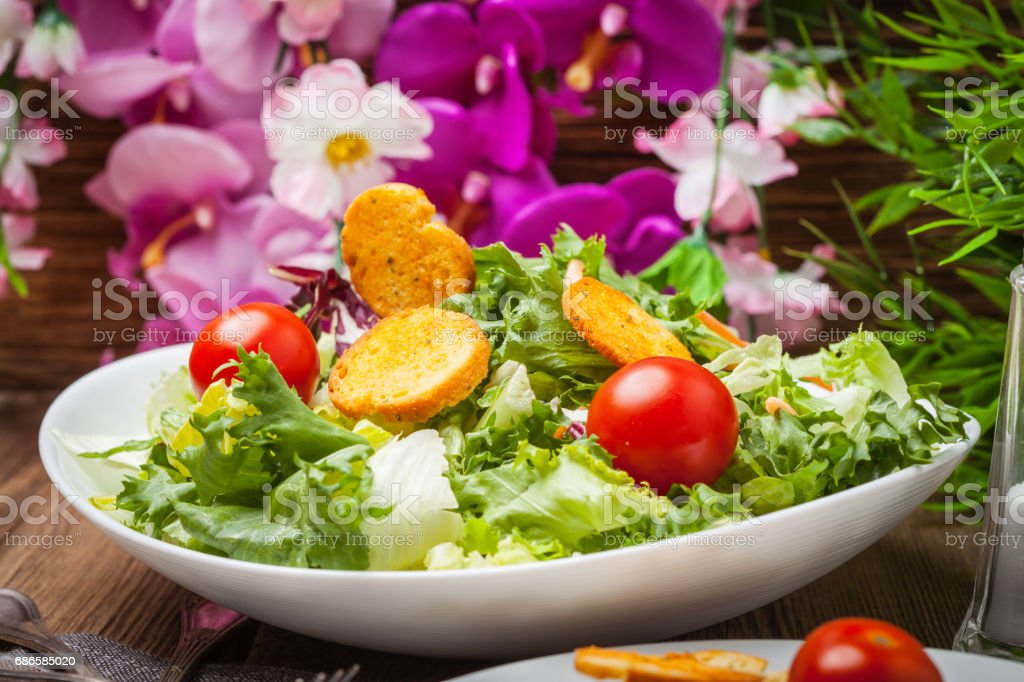Mixed salad with croutons. royalty-free stock photo
