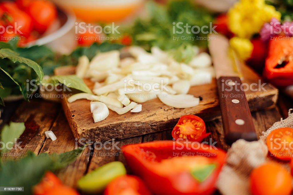 Mixed salad with radish. Caprese Salad. Cherry tomato mozzarella stock photo