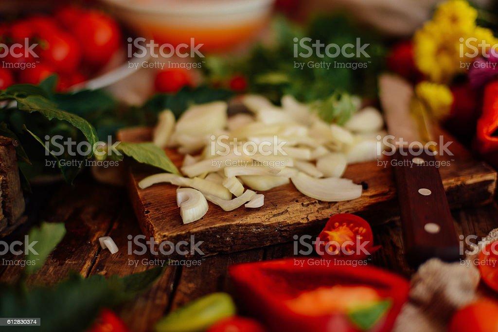 Mixed salad with radish. Caprese Salad. stock photo