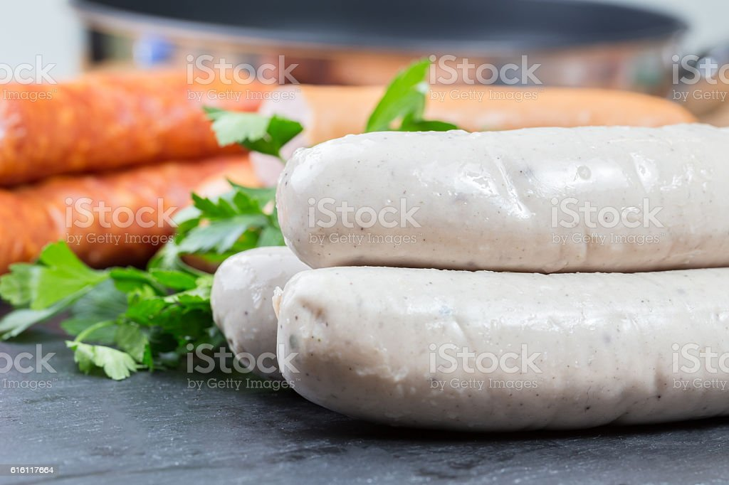 mixed sausages stock photo