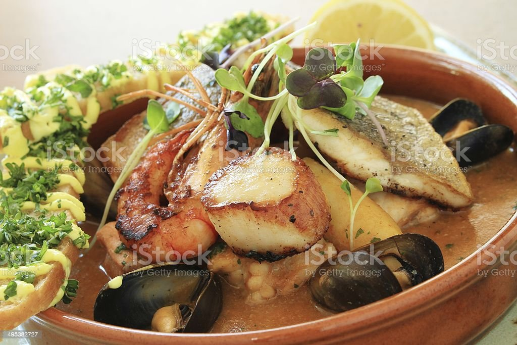 mixed seafood appetizer dish stock photo