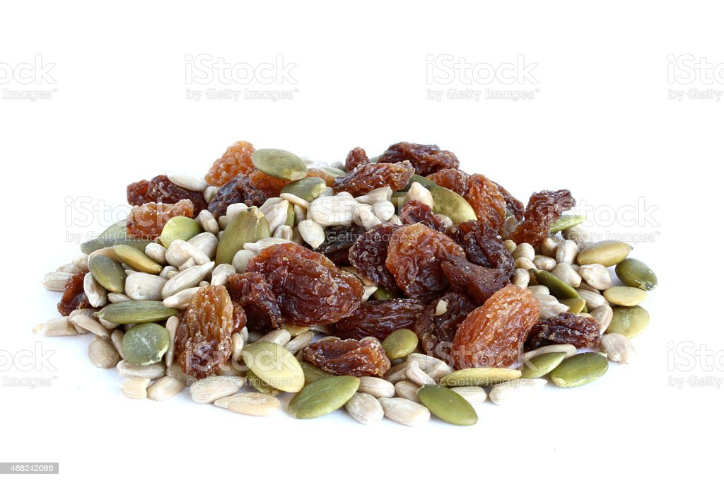 Mixed Seeds and Dried Fruit stock photo