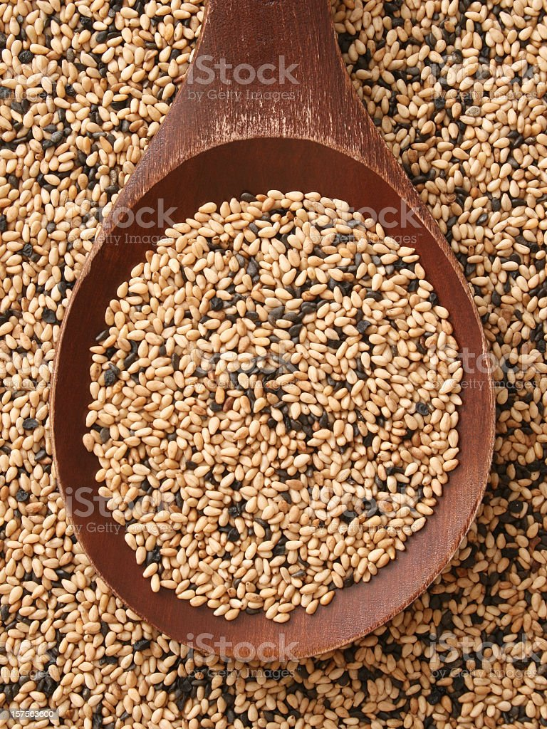 Mixed sesame seeds stock photo