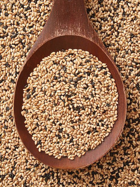 Mixed sesame seeds stock photo