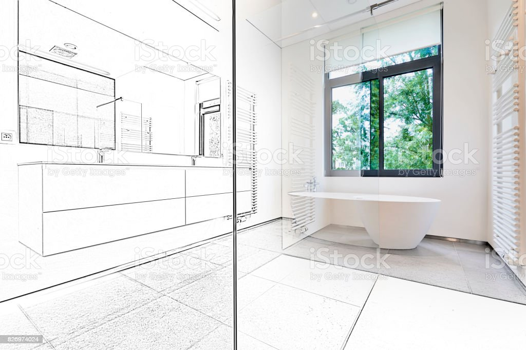 Mixed sketch of a Bathtub in corian, Faucet and shower stock photo