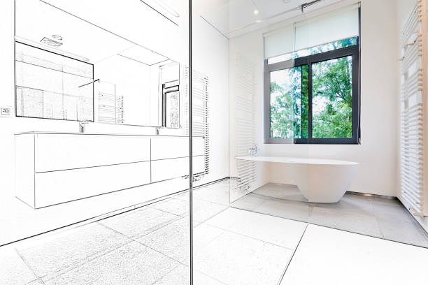 mixed sketch of a bathtub in corian, faucet and shower - bathroom renovation stock photos and pictures
