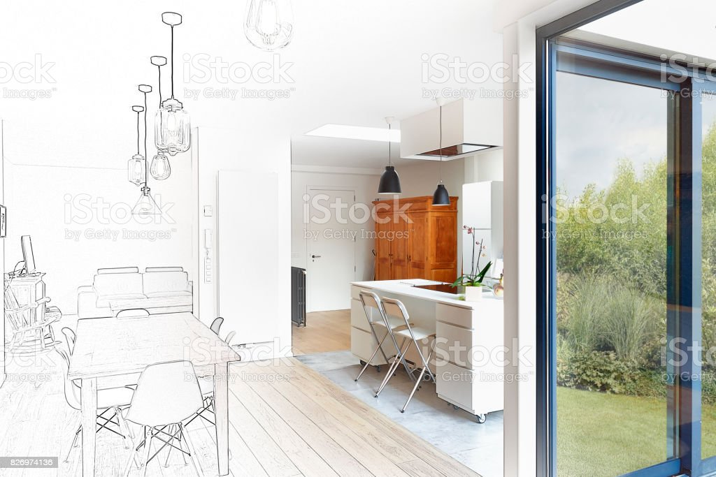 Mixed sketch of a Modern luxury living room stock photo