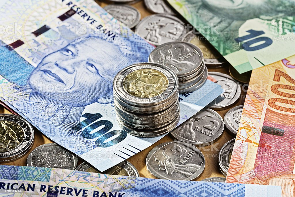 Mixed South African currency including new Mandela banknotes stock photo