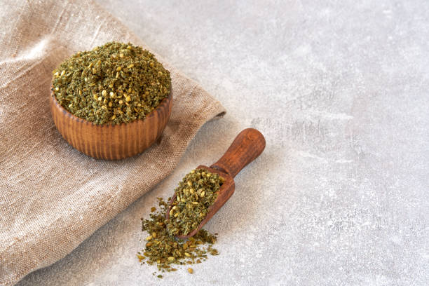 Mixed spice zaatar or zatar in wooden bowl Dried Food, East, Food zaatar spice stock pictures, royalty-free photos & images