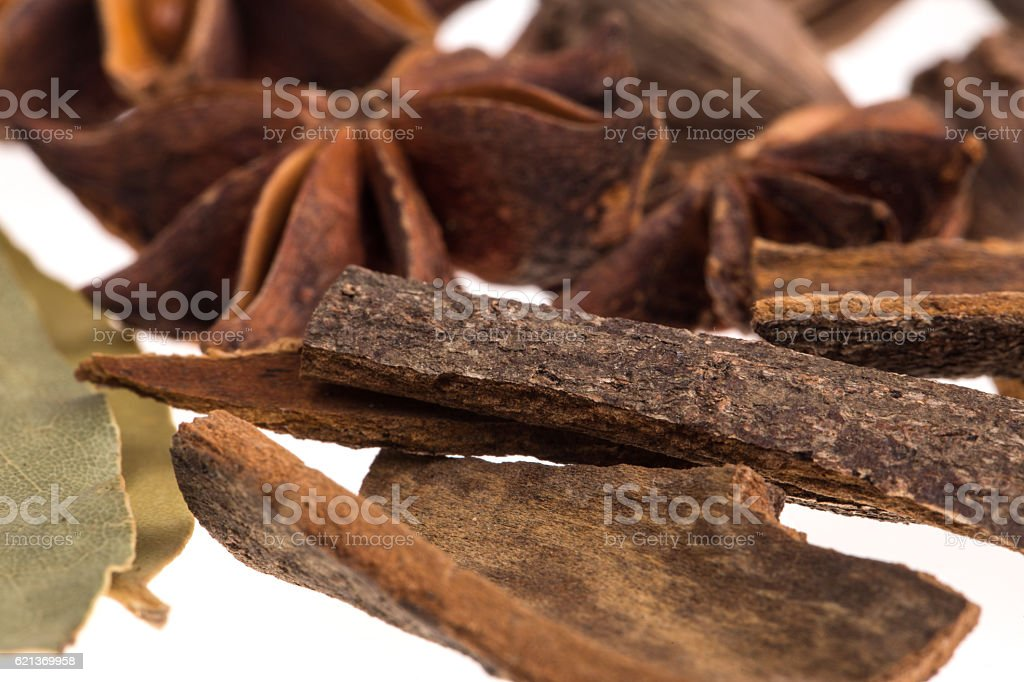 Mixed spices on a white background stock photo