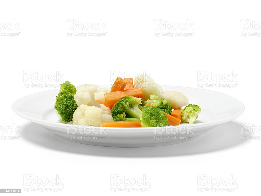 Mixed Steamed Vegetables stock photo