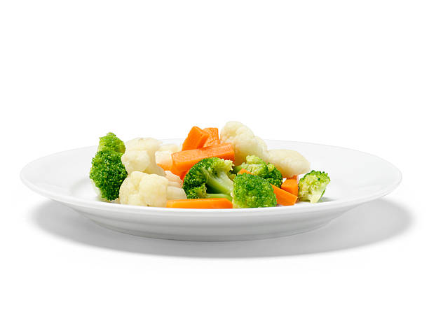 mixed steamed vegetables - gestoomd stockfoto's en -beelden