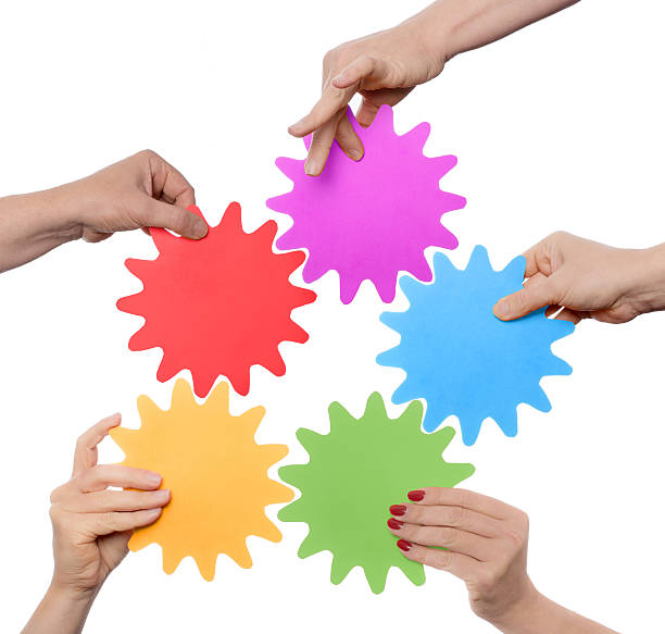 mixed team working together stock photo
