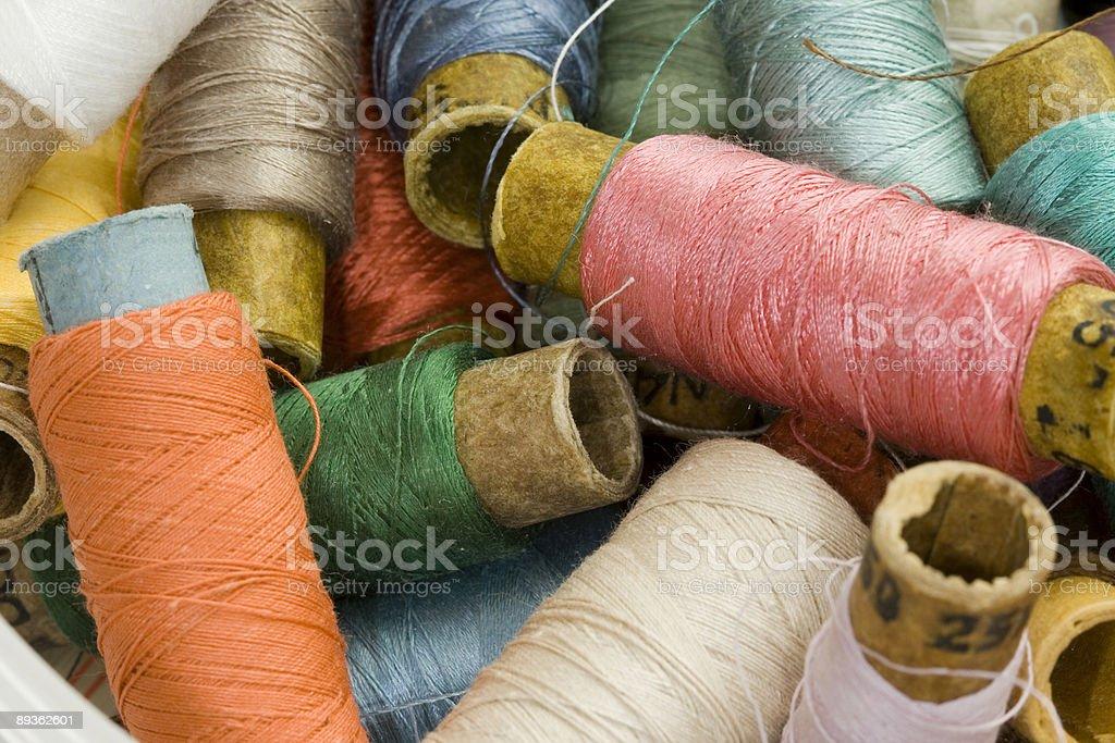 Mixed Thread Spools - close-up royalty-free stock photo