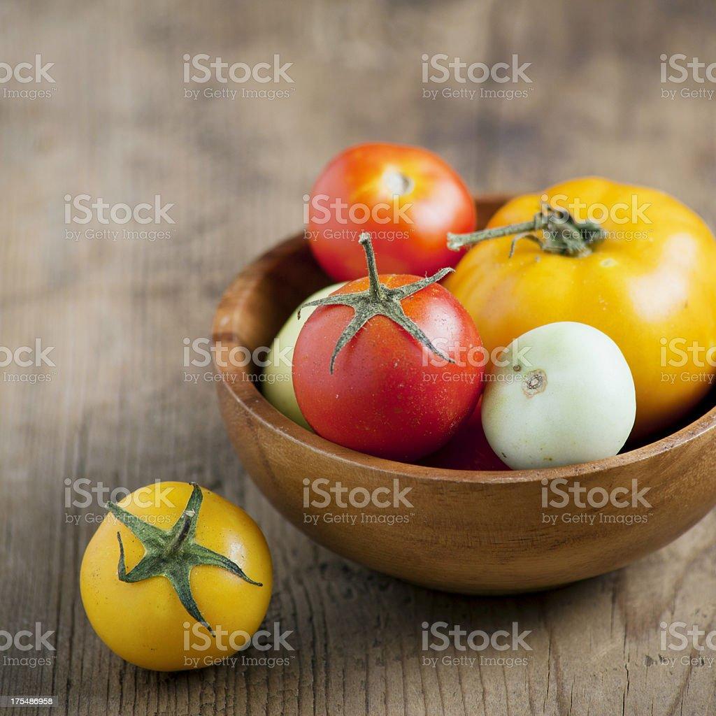Mixed tomatoes stock photo