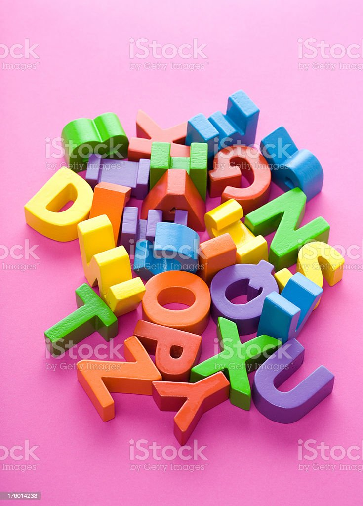 Mixed Up Colorful Letters Studio Shot royalty-free stock photo