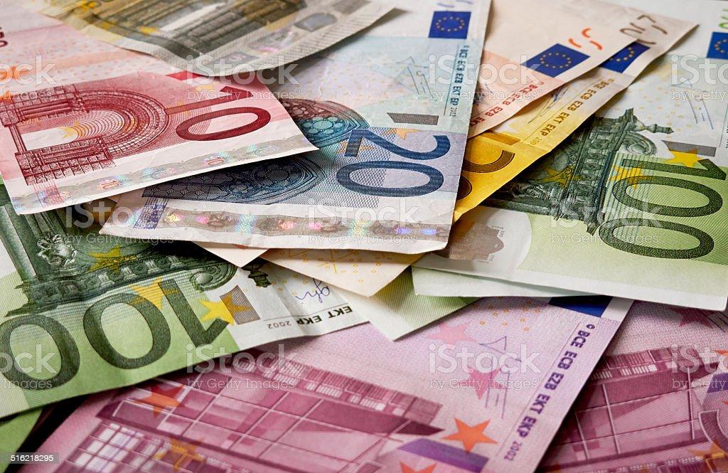 Mixed up Euro Banknotes stock photo