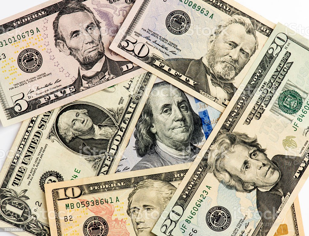 Mixed US Dollars on American Presidents stock photo