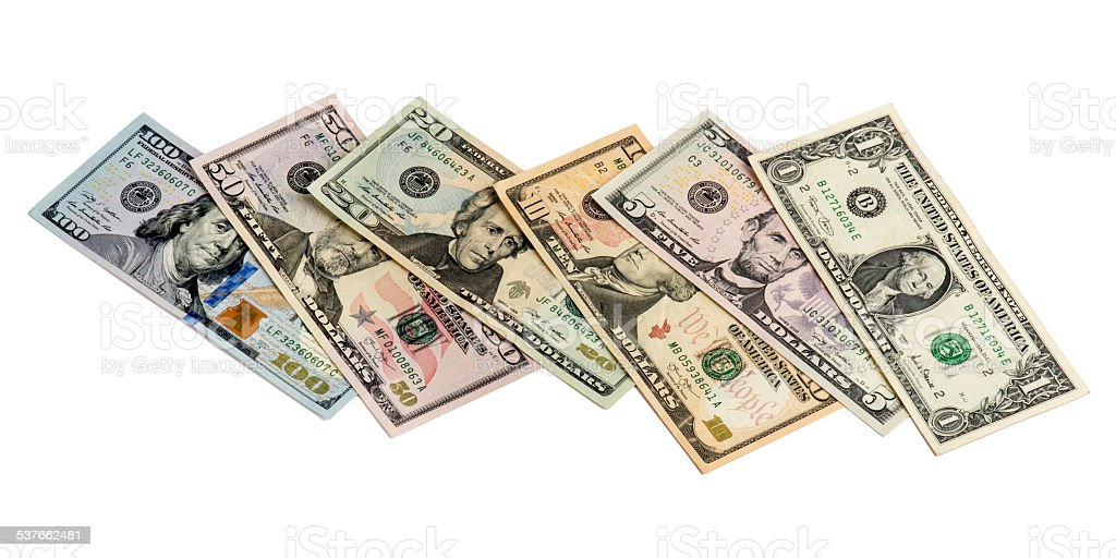 Mixed US Dollars on White Background stock photo