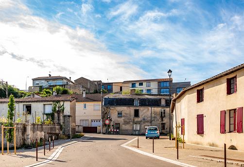 Deux-Sèvres, France. Thursday 23 July 2020. Mixed use buildings in Airvault, Deux-Sèvres, France