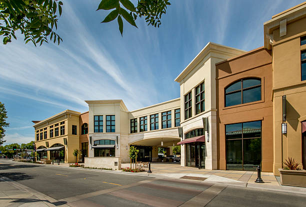 mixed use commercial building exterior - shopping mall stock photos and pictures