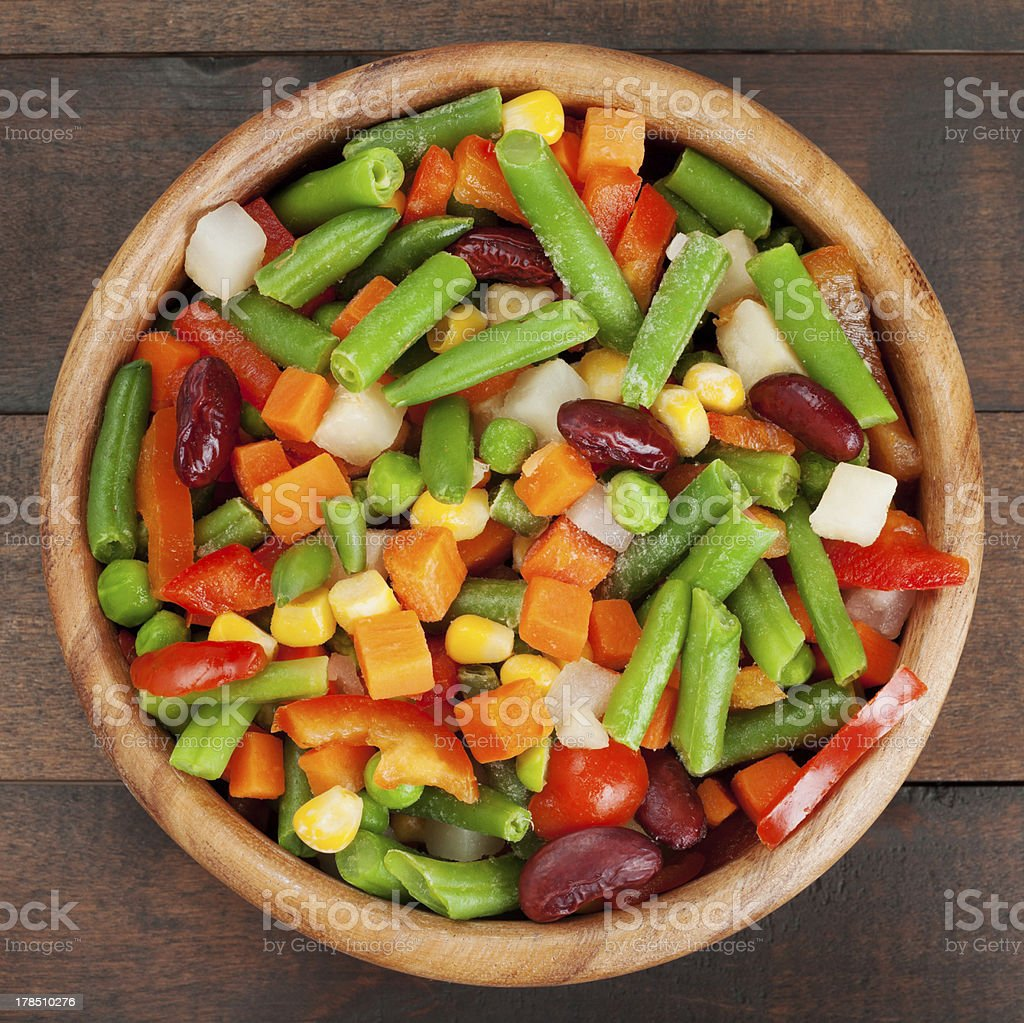 mixed vegetables in wooden bowl royalty-free stock photo