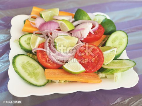 A dish of mixed fresh vegetables salad, homemade style