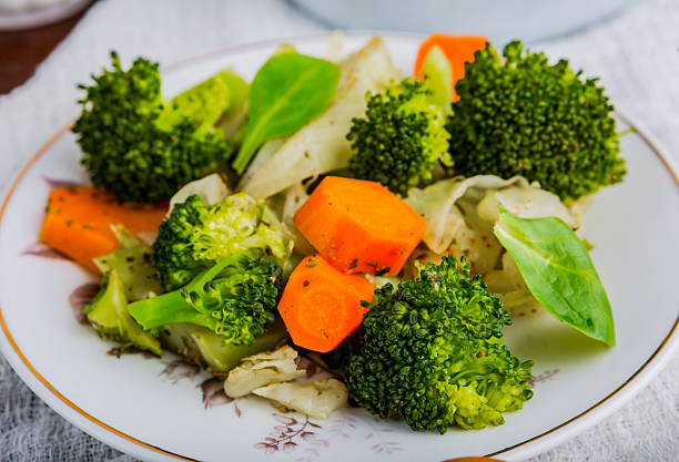 Mixed vegetables with carrots, cabbage and broccoli tasty stock photo