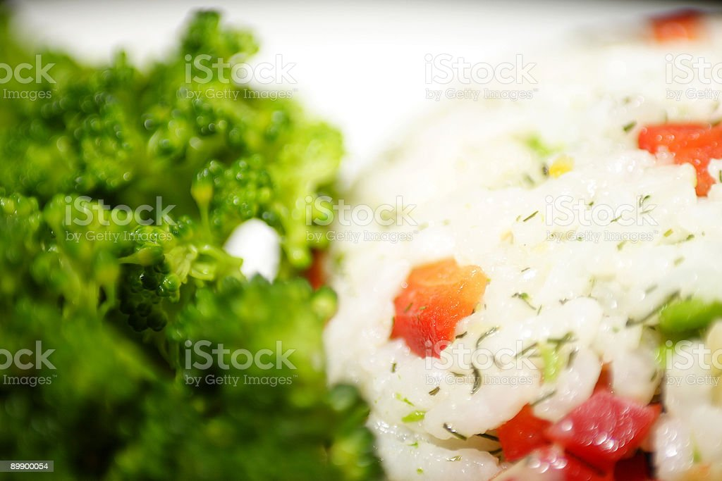 mixed vegtable rice and broccoli royalty free stockfoto