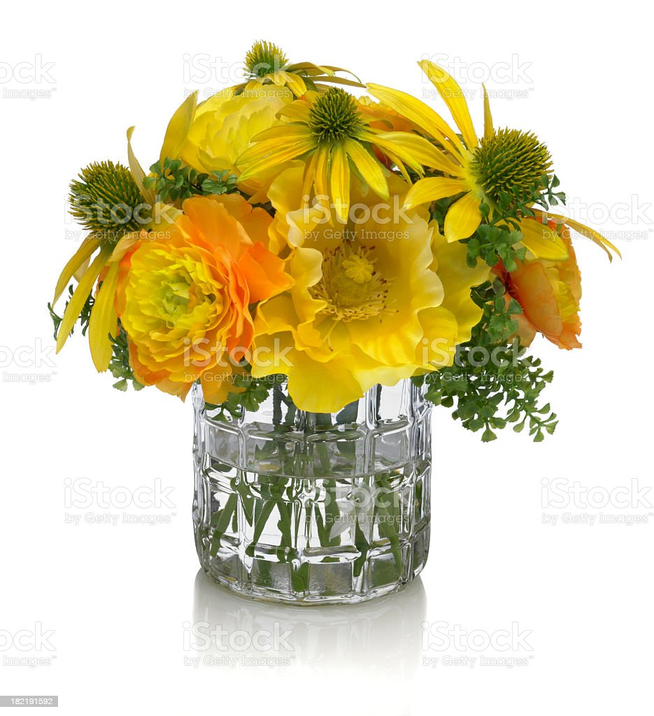 Mixed yellow field flower bouquet on white background royalty-free stock photo
