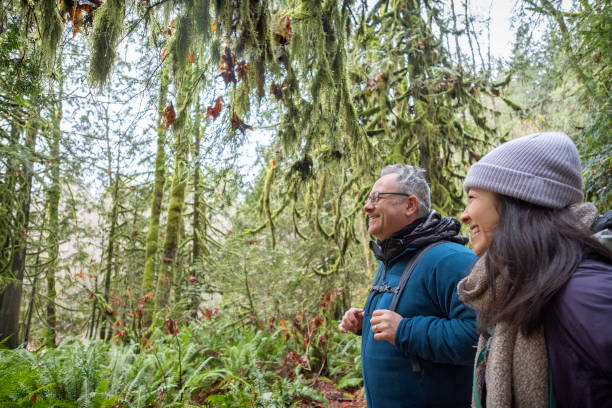 Mixed-Ethnic Father and Daughter Laughing and Hiking in Winter Forest stock photo