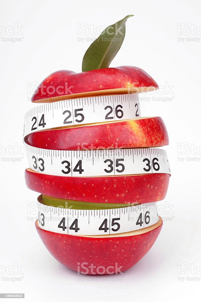 Mixed-fruit and measuring tape royalty-free stock photo
