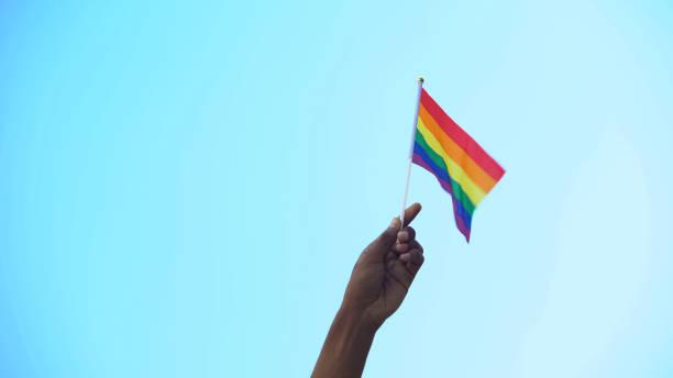 lgbtiqマイノリティフラグ、プライド、活動主義の旗を持つ混血の人の手 - lgbtqi  ストックフォトと画像