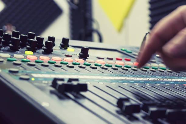 mixer at recording studio stock photo
