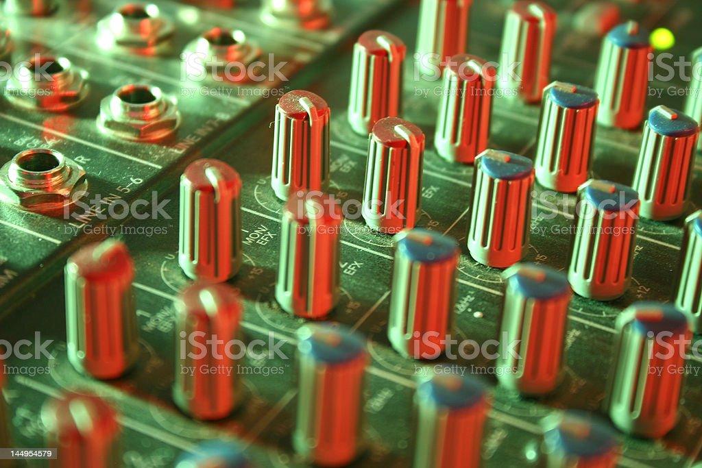 Mixer dials and plug-ins stock photo